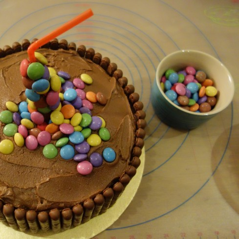 Sweet Treats Smarties Anti Gravity Anti-Gravity Cake Chocolate Buttercream Birthday Mum Create Bake Off Entry Seven 7 Learning Happiness
